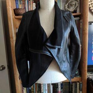 Muubaa Sabina Draped Cardi Leather Jacket UK10 US6
